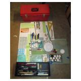 Garage: Art Supplies in Red Box-Paint, Pens, Brushes, Clay, Triangles, Drawing Pencils, Oil Paints,
