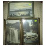 Several piecrust framed tinted photographs (Snoqualmie Cascade mountain stream, Mt. Edgecumbe, Sitka