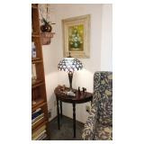 Living Room:  Half-Round Table, Stainglass Lamp, Copper Baby Shoes, Fish, 2 Dogs