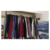 Upstairs Bedroom 3rd Right: New Shirts (L-2X), Used Shirt, Sports Coats, Pants, High End Clothing