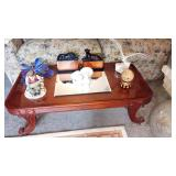 Living Room: Great Coffee Table w/Glass Top, Lladro Doves, Book Ends, Seagull, ButterFly