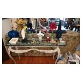 Dining Room: Glass Top Metal Base Table w/a bunch of stuff on it