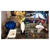 Dining Room: Glass Table w/bunch of stuff on it
