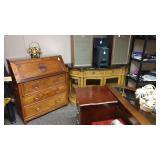Garage Backroom: Vintage Rose Wood Desk Pioneer Speakers, Black Marble Top Side Board
