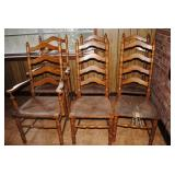 set of 6 ladderback chairs - 2 captains