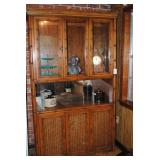Rattan style lighted china cabinet