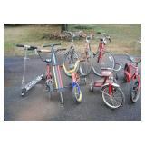 Assorted bicycles and scooters