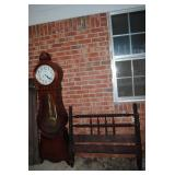 Newer grandfather clock, and Jenny Lind twin bed