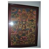 Asian style fabric framed