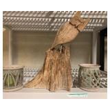 Owl wood folk art and signed pottery candleholders