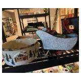 Christmas bowl and metal sleigh