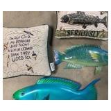 Signed wood fish, metal fish and fish pillows