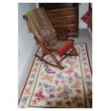 Victorain folding rocker, cotton Butterfly rug