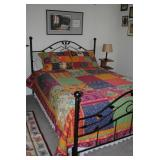 Metal queen bed with Sealy mattress, quilt set