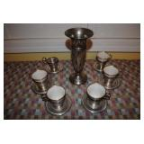 STERLING vase and demitasse cup and saucers marked Lenox
