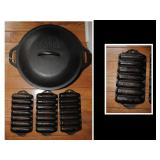 Lodge Dutch oven and Griswold corn stick pans