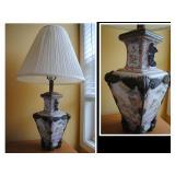 Antique porcelain and metal lamp - exquisite detail