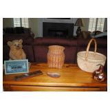 Handmade baskets, wood cribbage set, pottery and bear