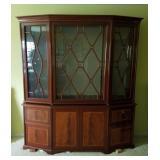 Lg Atq Walnut Inlaid Cabinet