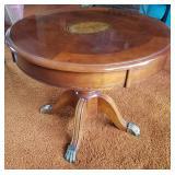 Inlaid Pedestal Walnut Table