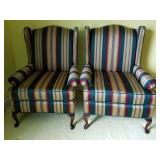Pr Striped Wing Back Chairs