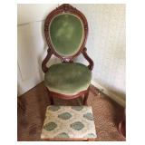 Victorian Parlor Chair and Footstool