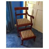 Vtg Cherry Chair and Foot Stool
