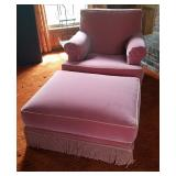 Vtg Pink Chair and Ottoman