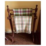 Vtg Quilt Stand and Wool Throws
