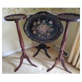 Vtg Tole Tray Table and 2 Cherry Plant Stands