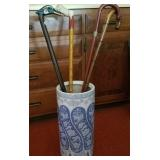 Vtg Walking Canes and Container