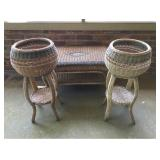 Vtg Wicker Coffee Table and Planters