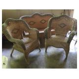 Wicker Patio Settee and Chairs