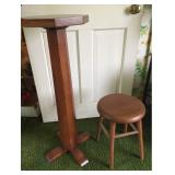 Wood Stool and Pedestal