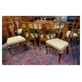 Queen Anne Walnut Oval Dining Table & 8 Chairs