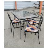 MCM Glass Topped Dining Table + Six Chairs