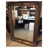 Large Gold Framed Beveled Mirror