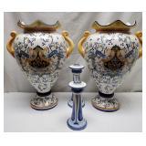 Lg Italian Vases, Candlesticks