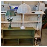 Vtg Bookcase & Lamps