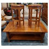 Vtg Craftsman Style Coffee Table & 2 Stools