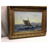 Vtg Framed Oil on Canvas Seascape