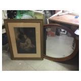 Vtg Print & Wood Framed Mirror