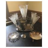 Vtg Silver Plate & Glass Decor