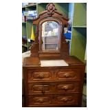Antique Walnut Victorian Dresser