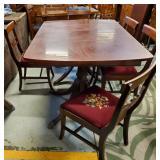 Mahogany Duncan Phyfe Table + Needlepoint Chairs