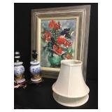 Petite Lamps & Framed Watercolor