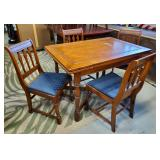Vtg Game Table + Four Chairs