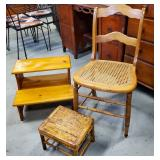 Vtg Maple Caned Chair, Pine Step, Bamboo Footrest