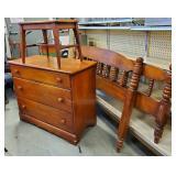 Vtg Maple Dresser, Stool + Full Bed - Set
