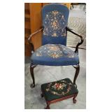 Vtg Needlepoint Queen Anne Chair + Footstool